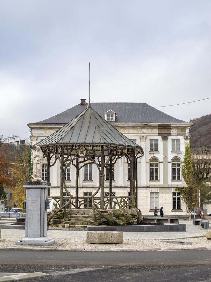 Place de Rome in Malmedy, Belgium. View of Place de Rome in Malmedy, Belgium with a music pavilion and Maison Cavens in the background royalty free stock image