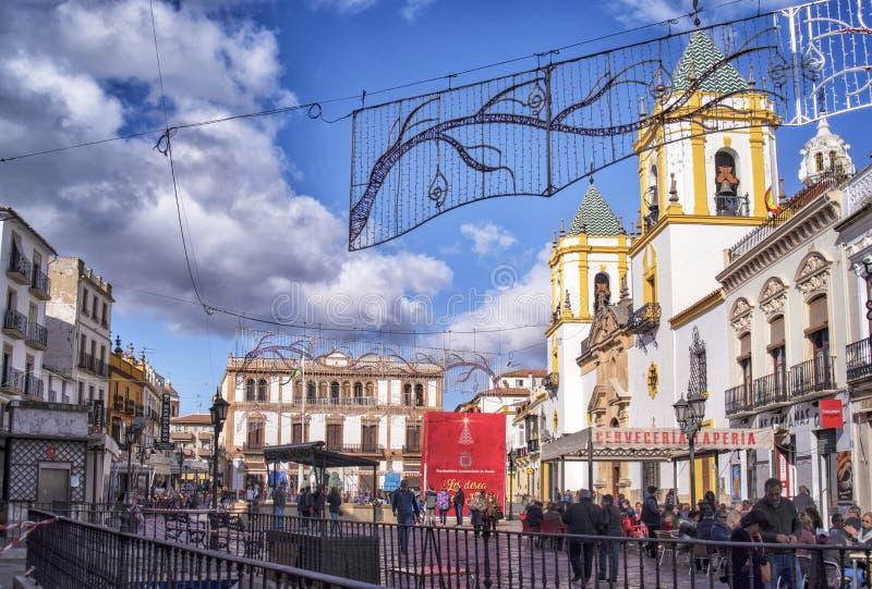 Place de Ronda Socorro, Andalousie, Espagne images stock