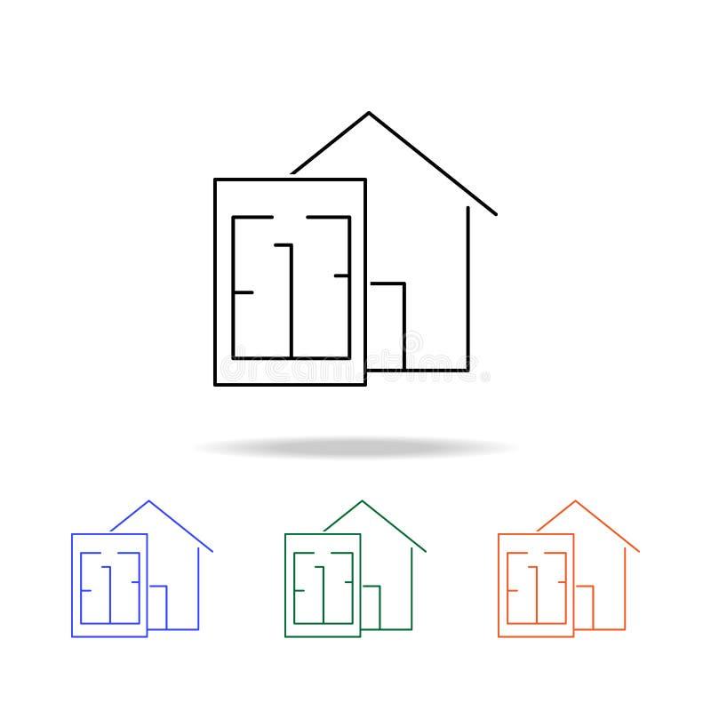 Place de secteur et icône de maison Éléments des immobiliers dans les icônes colorées multi Icône de la meilleure qualité de conc illustration libre de droits