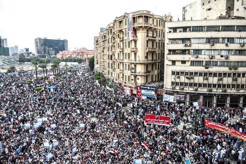 Place de Tahrir pendant la révolution arabe photos libres de droits