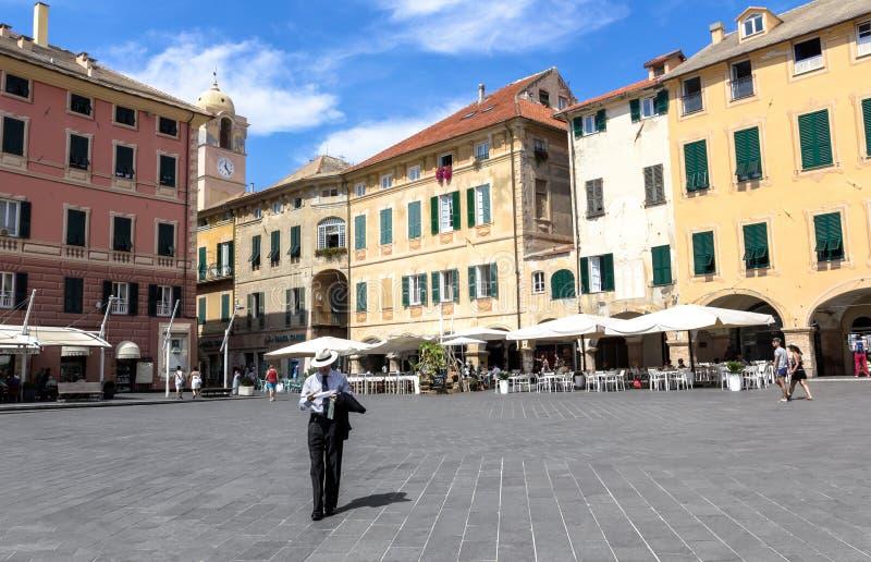 Place de Vittorio Emanuele II° dans la finale Ligure Savone ITALIE photo stock