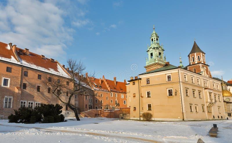 Place de yard de château de Wawel à Cracovie, Pologne photographie stock libre de droits