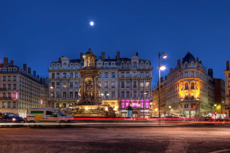 Place des Jacobins, Lyon, France. 12 streets meet in Place des Jacobins in downtown Lyon, now classified as a UNESCO World Heritage Site. Night scene surprising royalty free stock photo