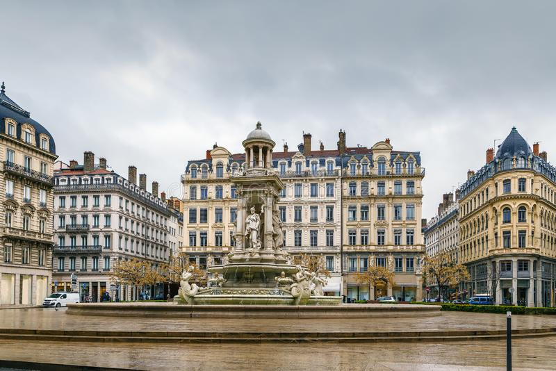 Place des Jacobins, Lyon, France. Place des Jacobins is a square located in Lyon downtown, France royalty free stock images
