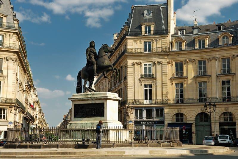 Place des Victoires in Paris stock photography