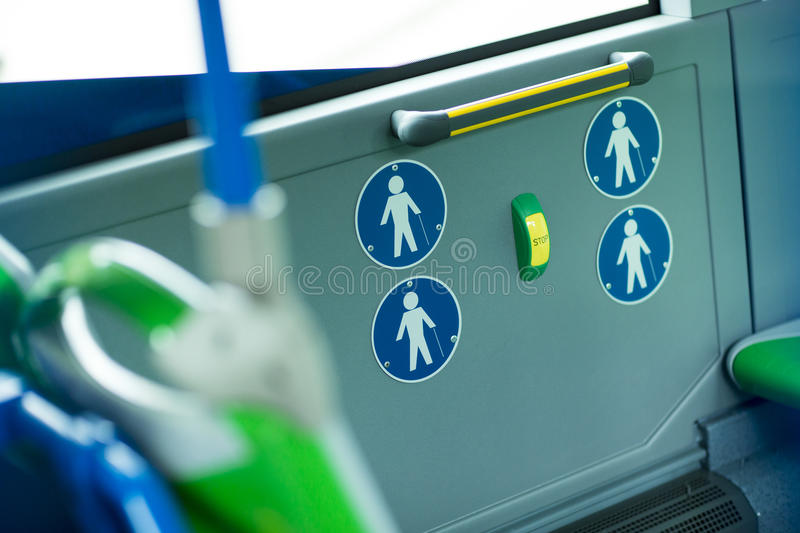 Place for disabled people and babies in a bus. Urban transport royalty free stock image