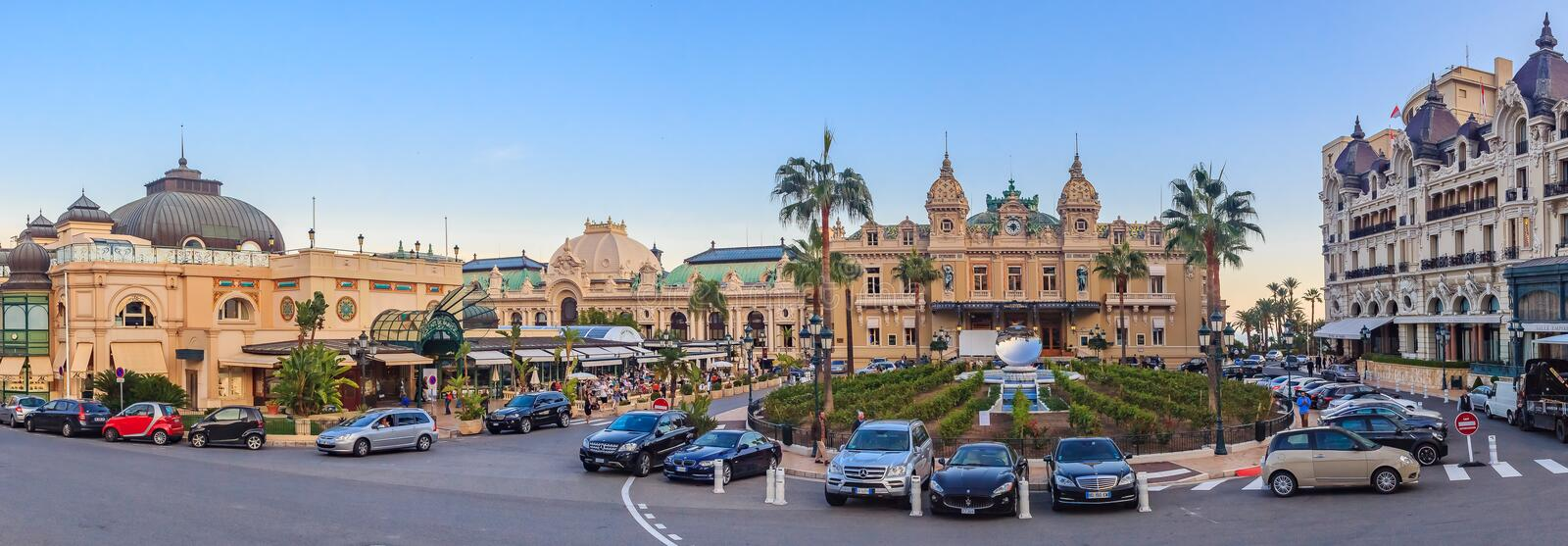 Place du Casino in Monte Carlo Monaco with Grand Casino and Hotel de Paris with the mirror fountain out front royalty free stock images