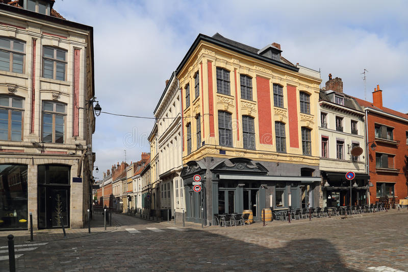 Place du Concert in Lille, France. Historical houses and restaurants on the Place du Concert in Lille, France stock image