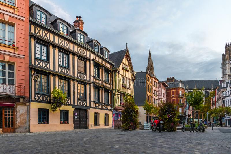 Place du Lieutenant-Aubert with famos old buildings in Rouen, Normandy, France royalty free stock images