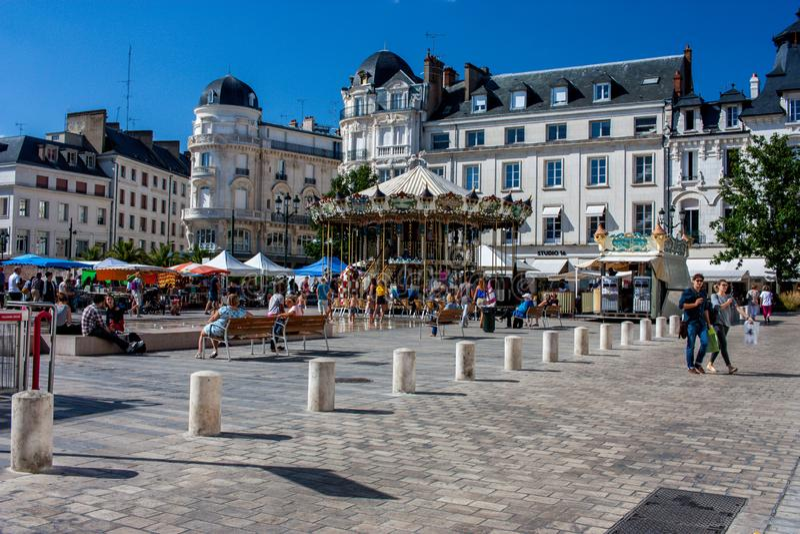 Place du Martroi在奥尔良,法国 免版税图库摄影