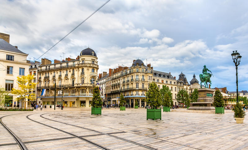 Place du Martroi, the main square of Orleans. France stock photos