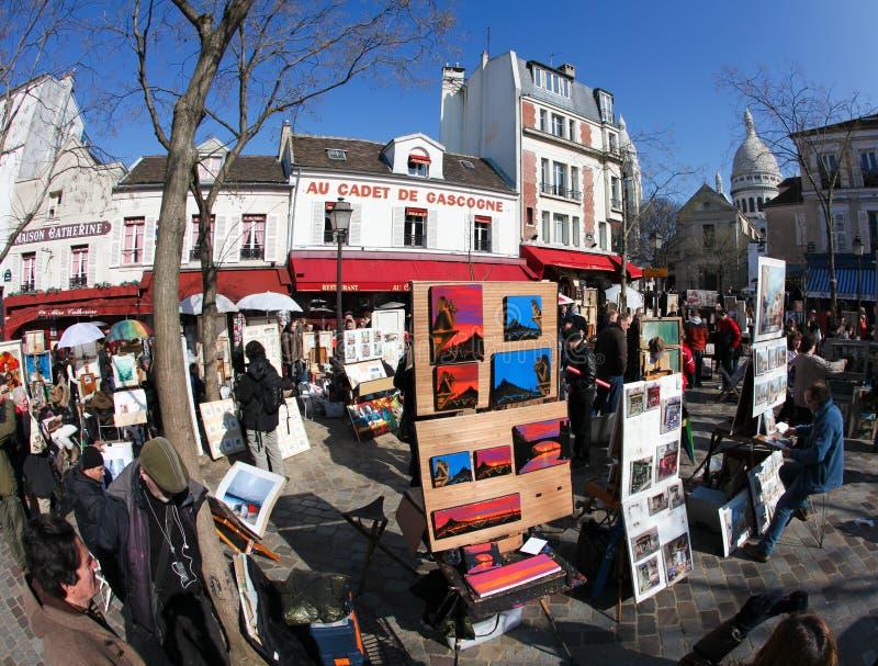 Place du Tertre, Parigi immagini stock