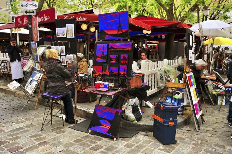 Place du Tertre a Parigi, Francia fotografie stock libere da diritti