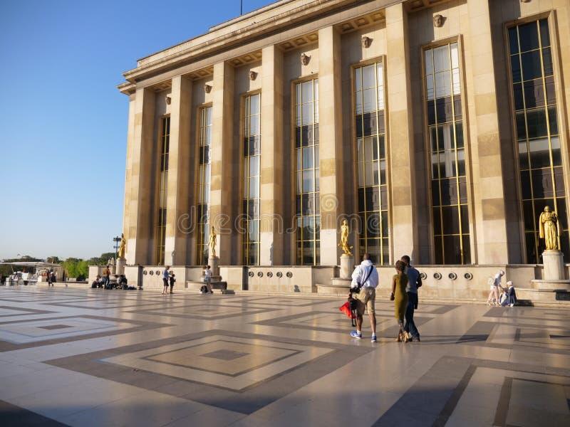Place du Trocadero Parijs Vloeren en de Bouw royalty-vrije stock afbeelding