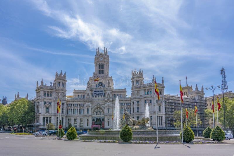Place et bureau de poste central Madrid du ` s de Cybele photographie stock libre de droits