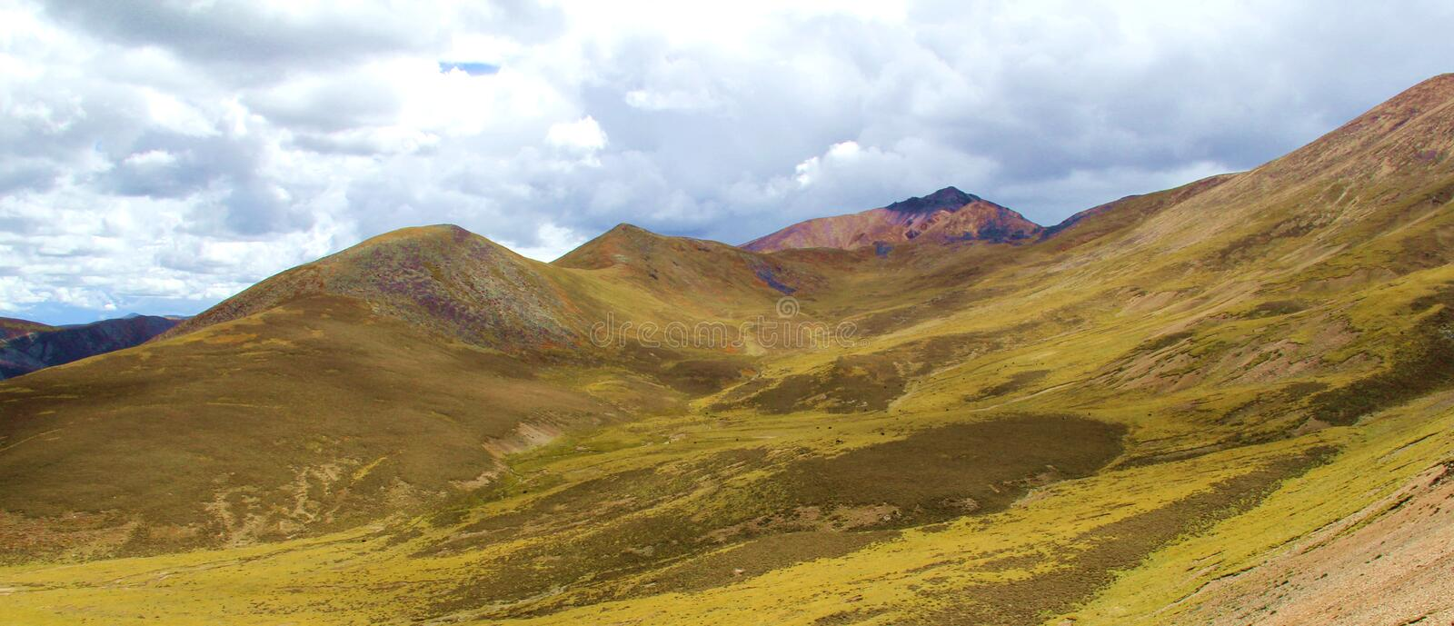 Mila mountain range Tibet. The place full of mountains, kinds of styles and heights,different colors and shapes stock photos