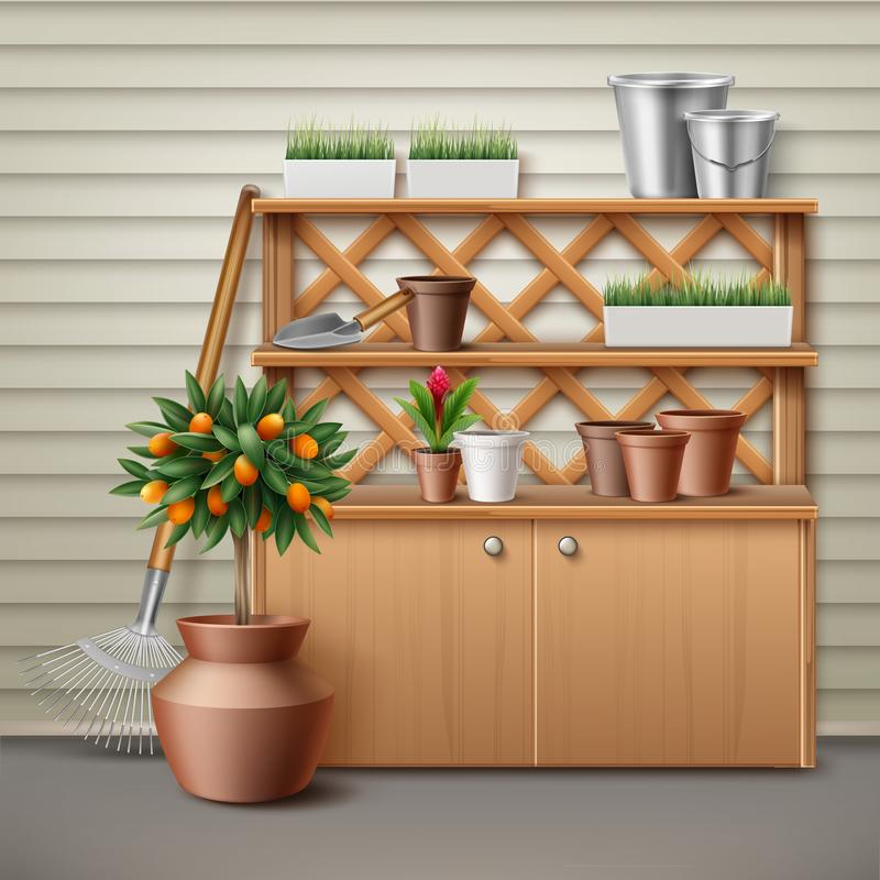 Place for gardening tools. Vector illustration of place with cupboard and shelf for tools gardening. Isolated, front view royalty free illustration