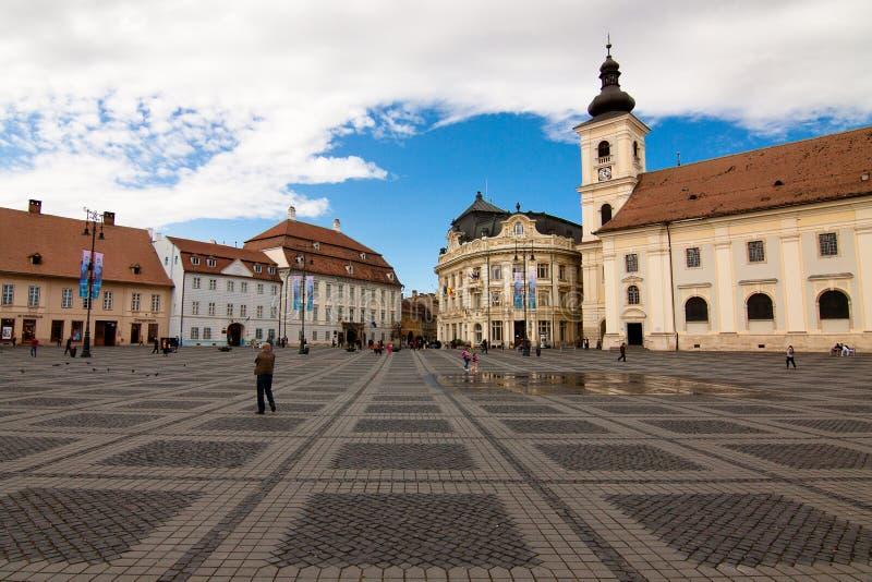 Place grande du marché, Sibiu, Roumanie photo libre de droits