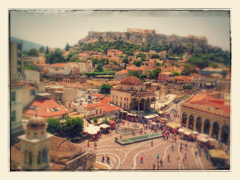 Place grecque monastiraki acropole Grèce temps ancien photographie stock