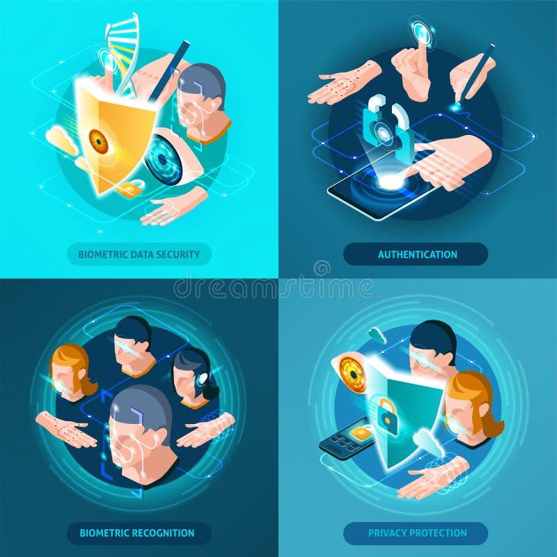 Place isométrique d'icônes d'authentification biométrique illustration stock