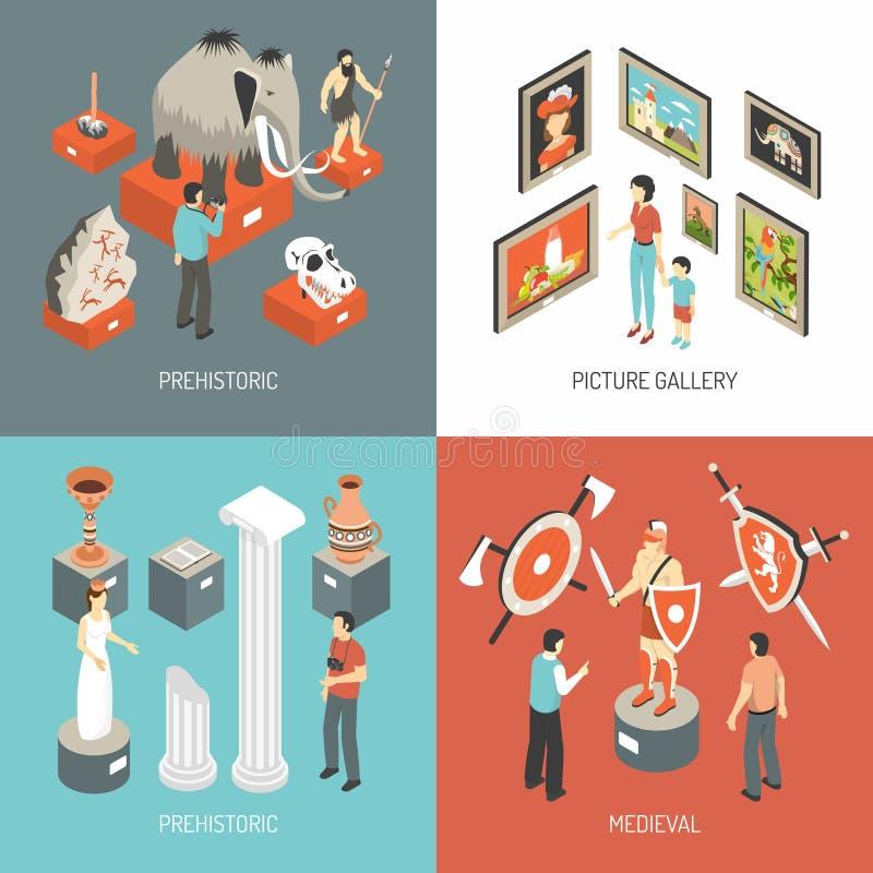 Place isométrique d'icônes d'Art Museum 4 illustration stock