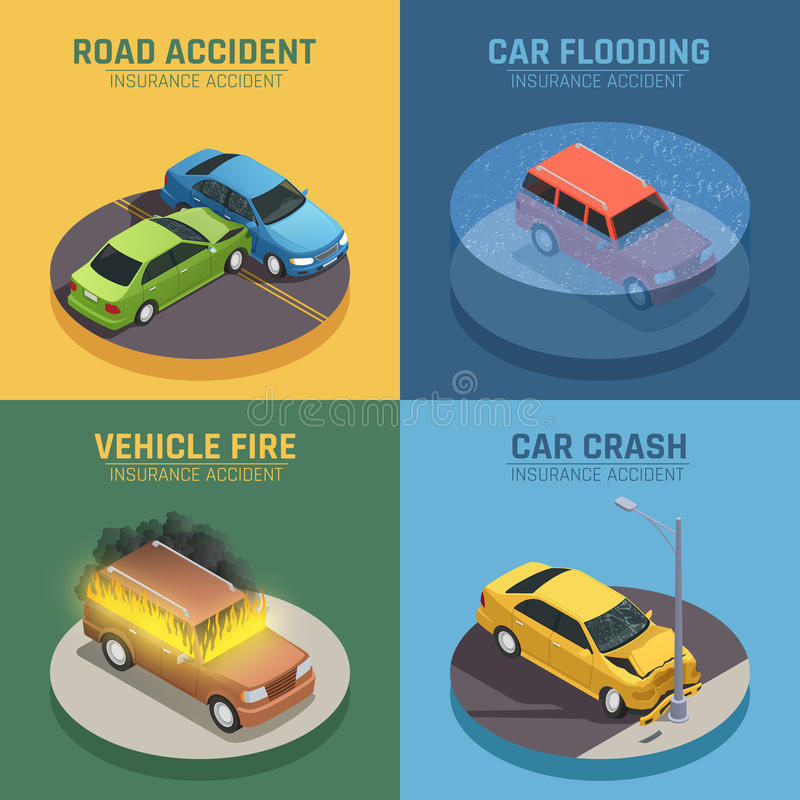 Place isométrique d'icônes d'assurance automobile illustration de vecteur