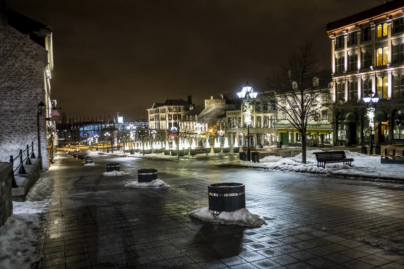 Place Jacques-Cartier at night. Place Jacques-Cartier is a square located in Old Montreal in Montreal, Quebec, Canada, and an entrance to the Old Port of royalty free stock photo