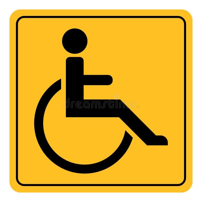 Place jaune de symbole handicapé invalide de vecteur de signe d'icône avec les handicapés invalides de coins arrondis illustration de vecteur
