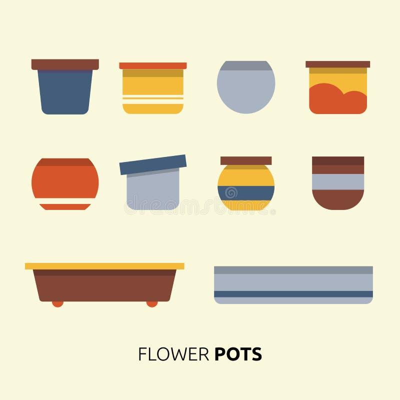 Place l'icône du vecteur de pots de planteur de fleur illustration libre de droits