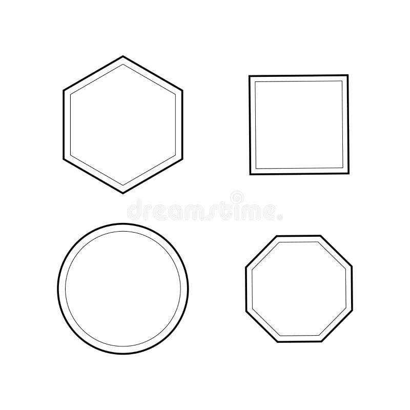 Place, le Pentagone, hexagone, ensemble d'icône d'octogone la géométrie 4, 5, 6, logo de 8 polygones illustration de vecteur