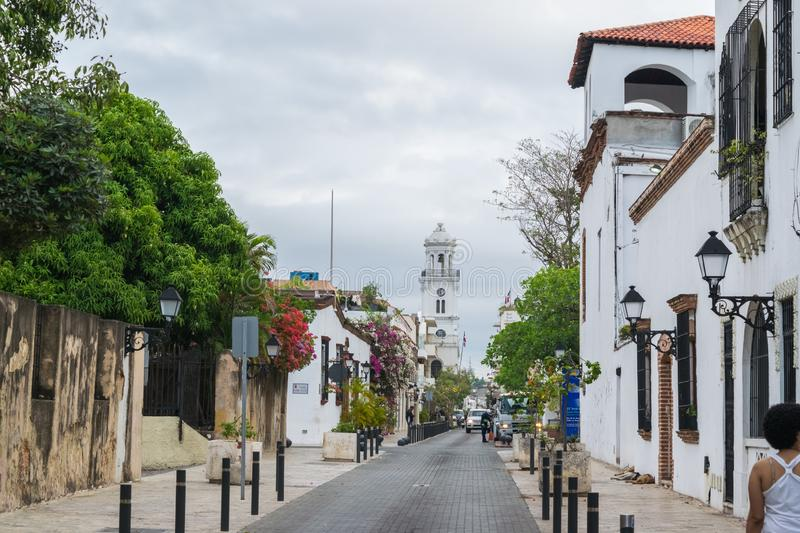 Historical street in the colonial city of Santo Domingo. This place is located in the Colonial Zone of Santo Domingo, Dominican Republic royalty free stock images