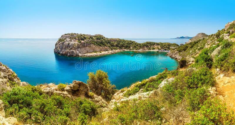 Anthony Quinn Bay lagoon in Rhodes island, Greece. Panoramic sea paradise landscape. Place named Anthony Quinn Bay lagoon in Rhodes island, Greece. Panoramic sea royalty free stock photos