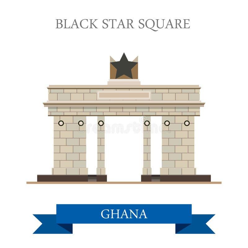 Place noire d'étoile dans l'illus plat de vecteur d'Accra Ghana illustration de vecteur