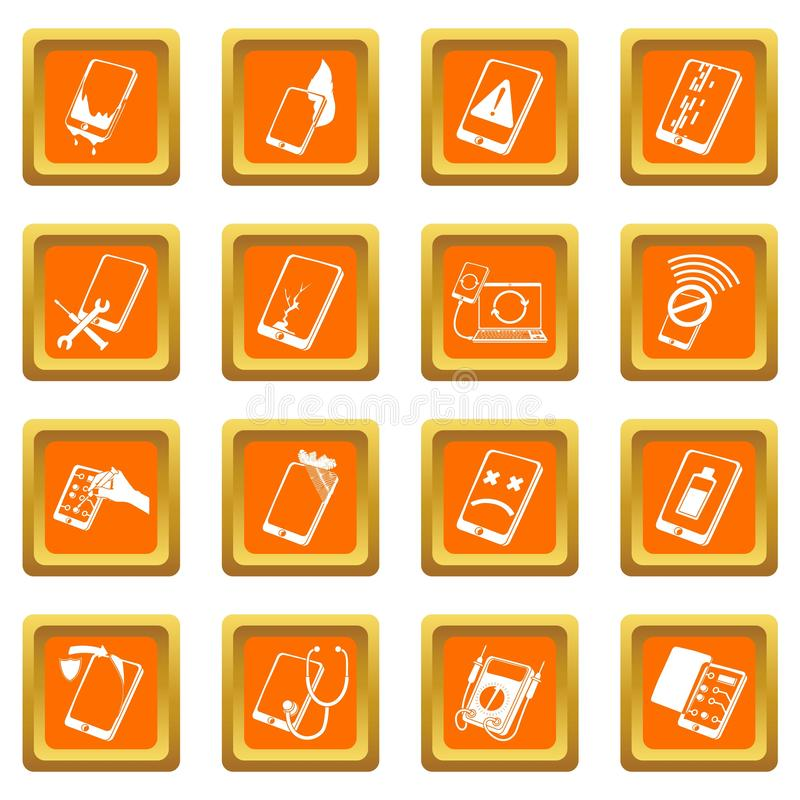 Place orange réglée par icônes de difficulté de téléphones de réparation illustration libre de droits