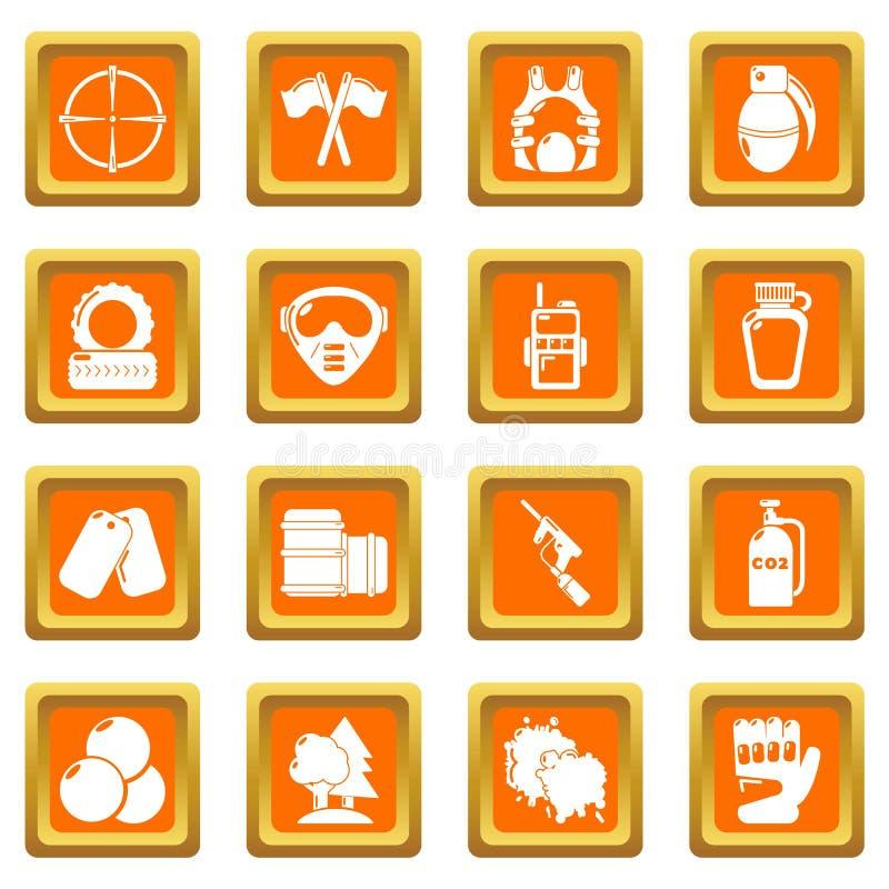 Place orange réglée par icônes de Paintball illustration libre de droits