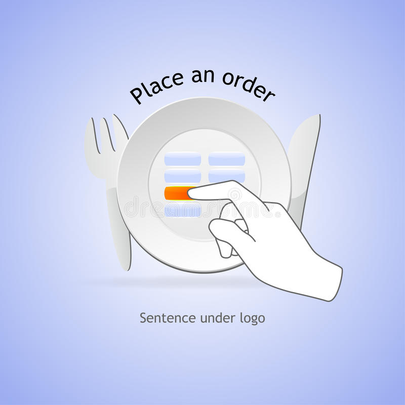 Place an order. In restaurant on touchable screen vector illustration