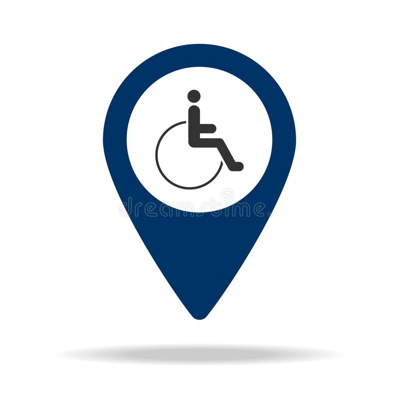 place for people with disabilities in blue map pin icon. Element of map point for mobile concept and web app. Icon for website des stock illustration