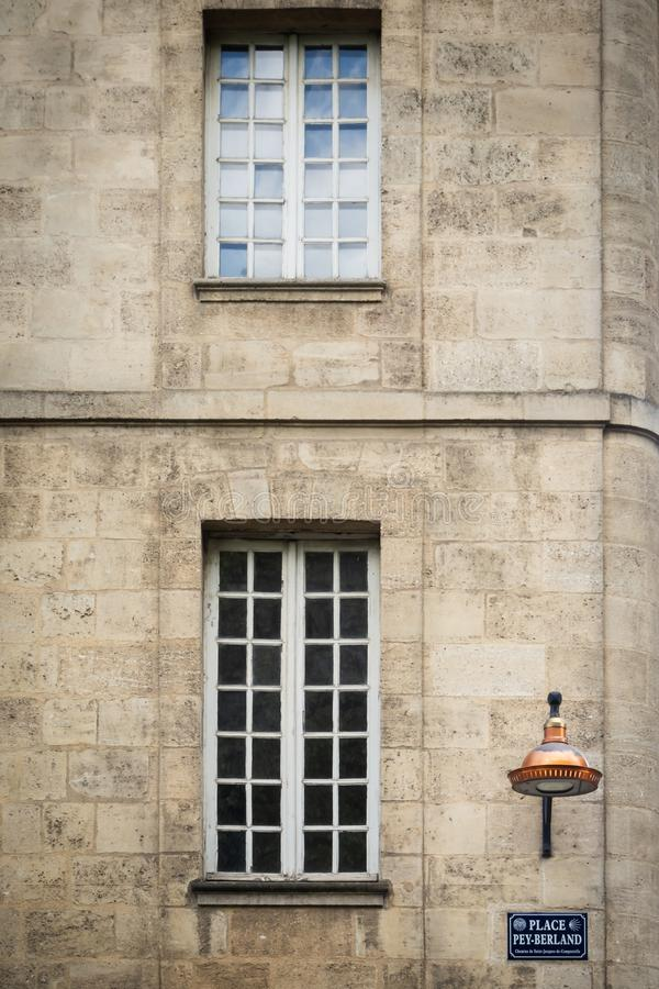 Place Pey Berland in Bordeaux. Place Pey Berland signe in a Bordeaux building royalty free stock photo