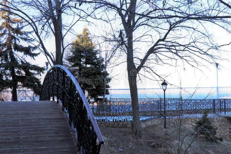 Place piétonnière en parc, avec une passerelle en bois romantique photo stock