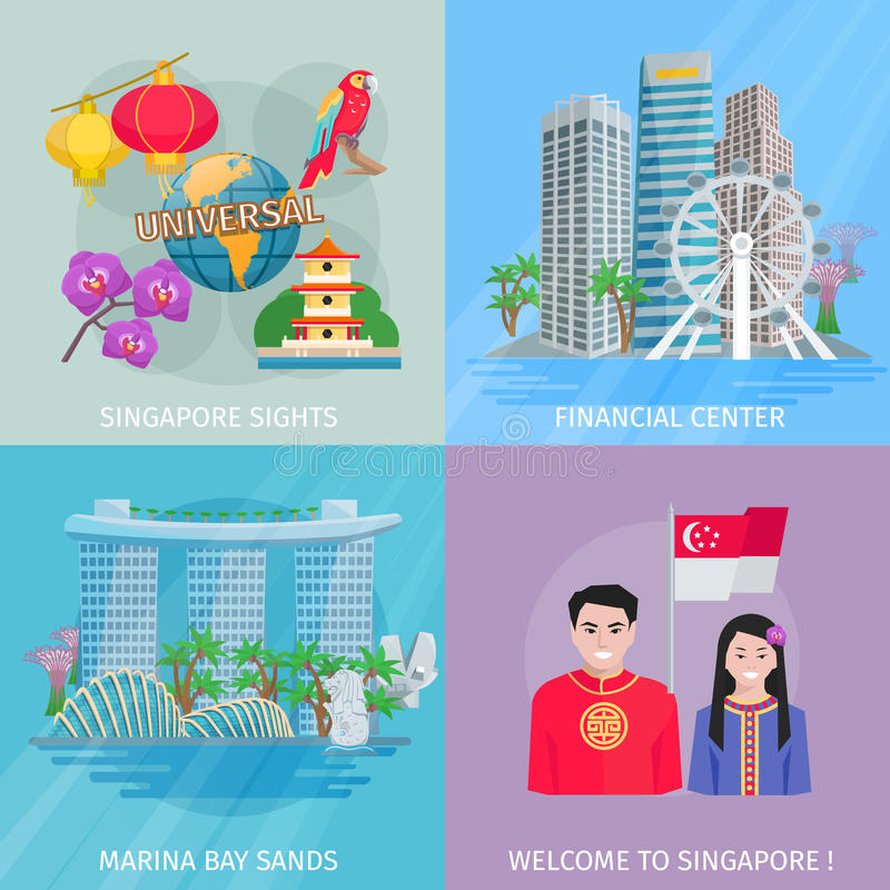 Place plate d'icônes de la culture 4 de Singapour illustration de vecteur