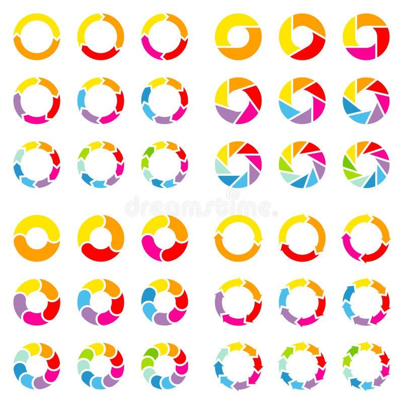 Place réglée de différents diagrammes en secteurs avec la couleur de flèches illustration stock