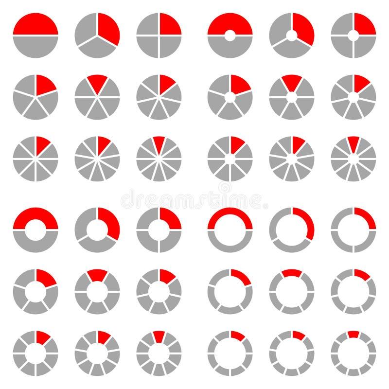 Place réglée de différents diagrammes en secteurs graphiques ronds rouges et gris illustration stock