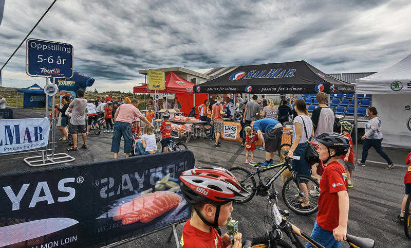 Place of registration to the race Tour of Norway for kids royalty free stock images