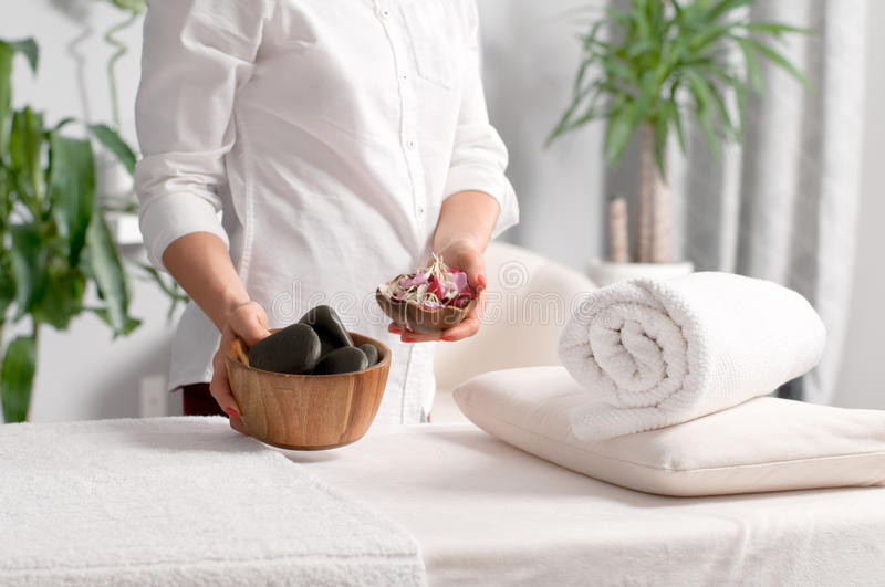 Place for relaxation in wellness spa center. Place for relaxation, massage table in modern wellness spa center stock image