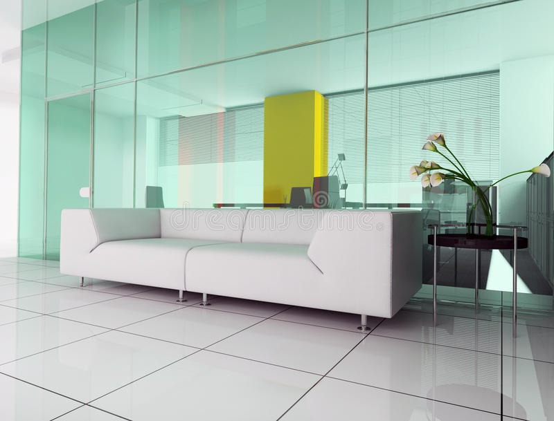 Place for rest. Modern interior office place for rest 3d image