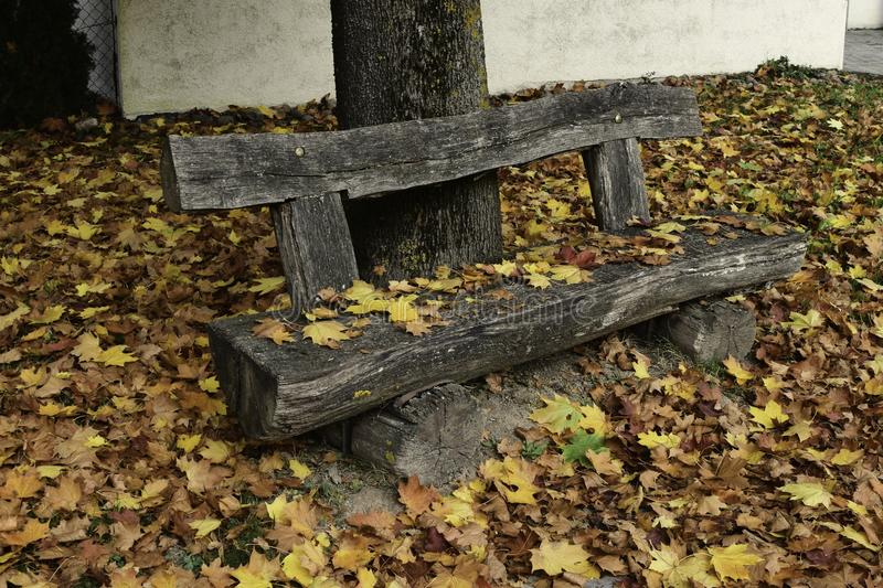 Pleace Take A Seat On This Old Rustic Bench stock photos