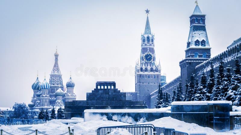 Place rouge en hiver froid, Moscou, Russie images libres de droits