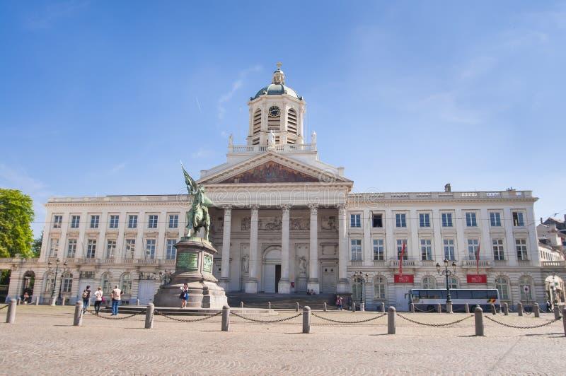 Place Royale Bruxelles, Place Royale de Bruxelles, Saint Jacques-sur-Coudenberg, Eglise Saint-Jacques-sur-Coudenberg with the sta. Brussels, Belgium, April 2018 royalty free stock photography