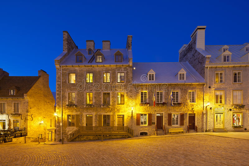 Place Royale in Quebec City, Canada. With its old buildings royalty free stock photography