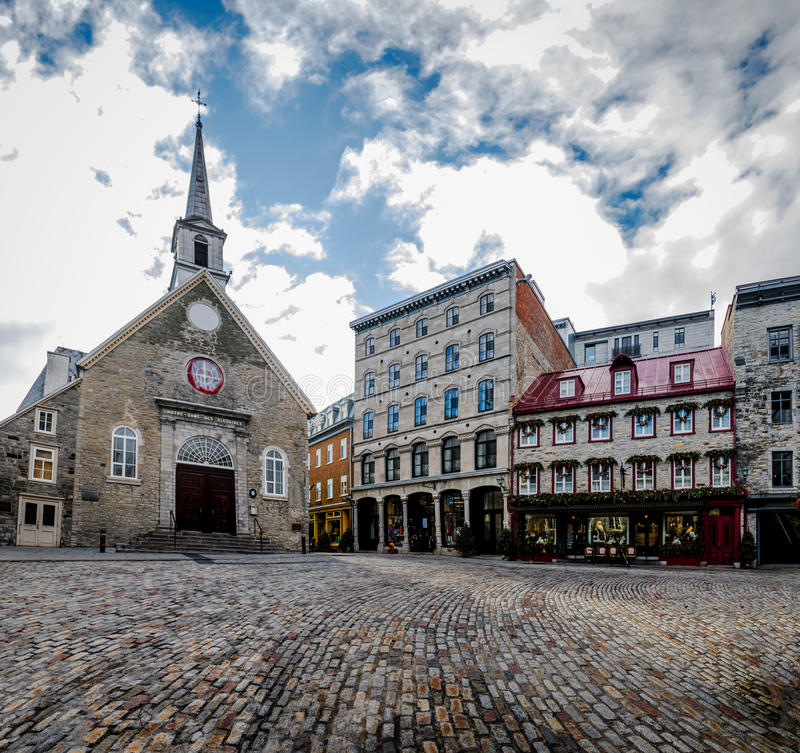 Place Royale Royal Plaza and Notre Dame des Victories Church - Quebec City, Canada. Place Royale Royal Plaza and Notre Dame des Victories Church in Quebec City royalty free stock image